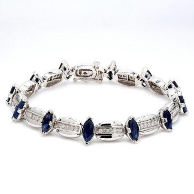 "7"" Bracelet in 14K WG w/ marquise shape Sapphires & Round diamonds D1.00ct.t.w."