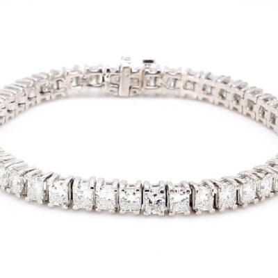 """7"""" Tennis Bracelet in 14K WG w/ Radiant cut diamonds D11.56ct.t.w."""