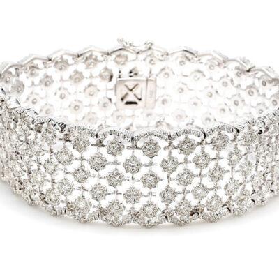 """7"""" Bracelet in 14K WG w/ Round diamonds D3.79ct.t.w."""