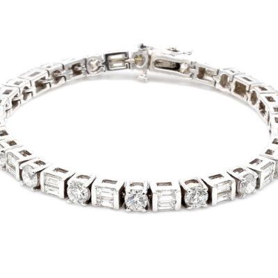 "7"" Bracelet in 14K WG w/ Round and Baguette diamonds D8.68ct.t.w."
