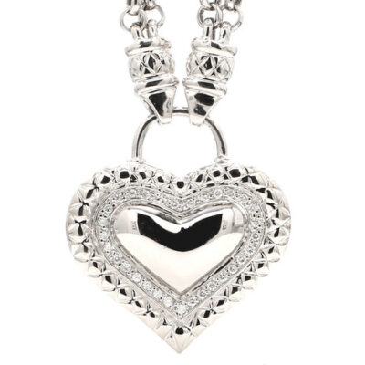 """15"""" Chain Necklace in 14K WG w/ Round diamonds on heart pendant D0.40ct.t.w."""