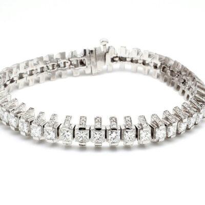 """7"""" Bracelet in 18K WG w/ Princess cut & Round diamonds D10.47ct.t.w."""