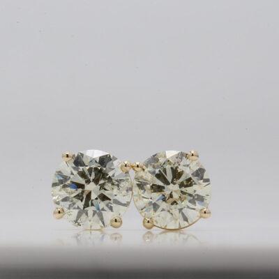 Stud Earrings in 14K YG w/ certified K/SI3 Round diamonds D2.29ct.t.w.