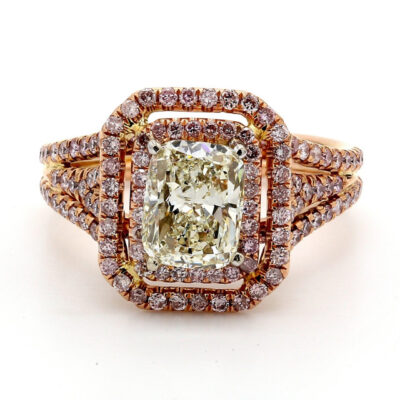 Double Halo Ring in 14K RG w/ H/VS1 Cushion center & pink Round diamonds D2.37ct.t.w.