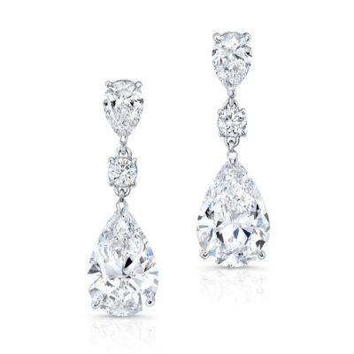Dangling Earrings in 18K WG w/ GIA H/SI1-SI2 Pear shapes & Round diamonds D14.85ct.t.w.