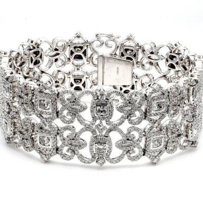"""7.5"""" Halo Bracelet in 18K WG w/ Cushion centers & Round diamonds D11.97ct.t.w."""