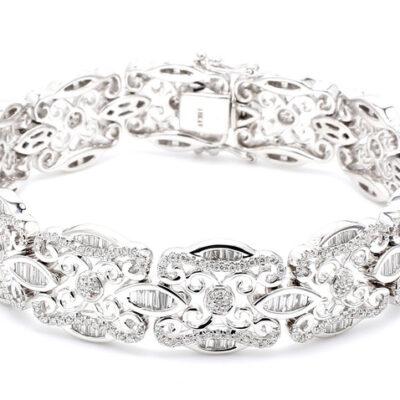 """7.5"""" Bracelet in 18K WG w/ Baguettes & Round diamonds D4.58ct.t.w."""