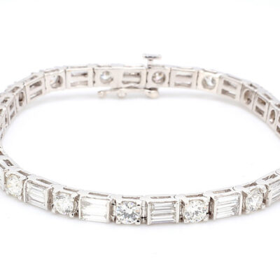 """7"""" Tennis Bracelet in 14K WG w/ alternating Baguette & Round diamonds D6.83ct.t.w."""