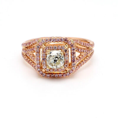 Double Halo Split Shank Ring in 14K RG w/ Cushion center & Round pink diamonds. D 0.90ct.t.w. (C0.67ct.) Size 7