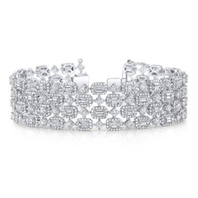 Halo Bracelet in 14K WG w/ Emerald & Round diamonds D20.45ct.tw.