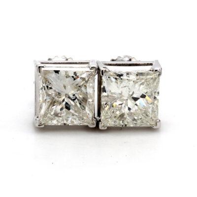 Stud Earrings in 14K WG w/ certified G/SI3 Princess cut diamonds D3.12ct.t.w.