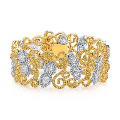 Halo Bracelet in 18K two-tone w/ Pear diamond centers D12.15ct.t.w.