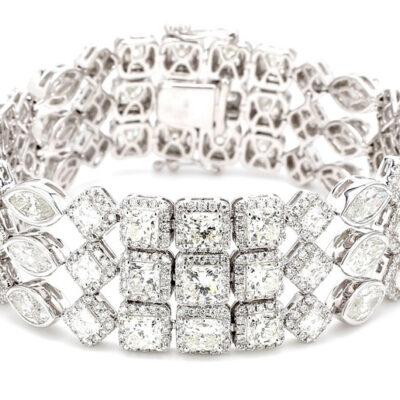 Halo Bracelet in 18K WG w/ assorted diamonds D30.56ct.t.w.