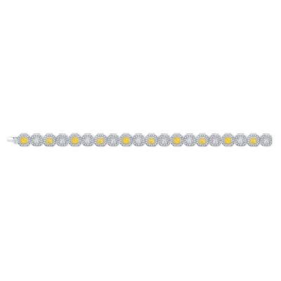 Halo Bracelet in 18K WG w/ FY & white Cushion cut diamonds D13.60ct.t.w.