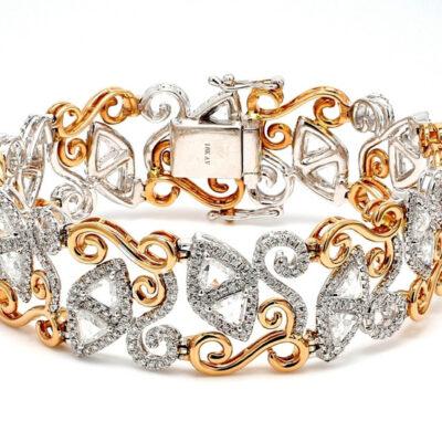 Halo Bracelet in 18K two-tone w/ Round & Trilliant diamonds D7.94ct.t.w.