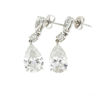 Dangling Earrings in 18K WG w/ GIA I/VS2-SI1 Pears & Rounds. D8.25ct.t.w.