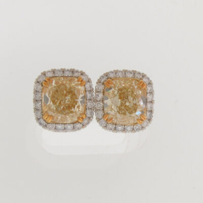 Halo Earrings in Platinum w/ GIA FLY/SI1-SI2 Cushion centers D6.47ct.t.w.