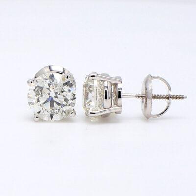 Stud Earrings in 14K WG w/ certified H/SI3 Round diamonds D2.90ct.t.w.