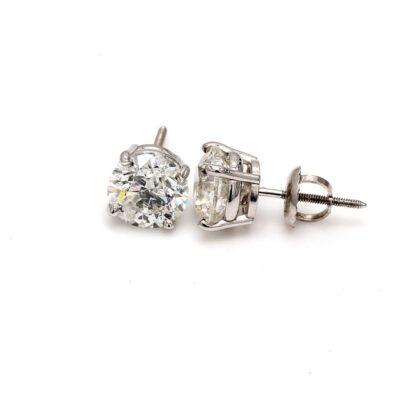 Stud Earrings in 14K WG w/ certified E/SI2 Round diamonds D2.91ct.t.w.