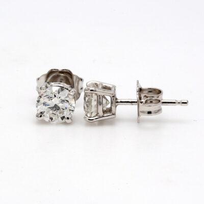 Stud Earrings in 14K WG w/ certified F-G/SI3 Round diamonds D1.06ct.t.w.