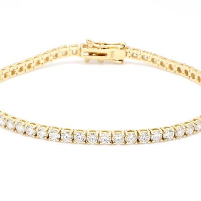 Tennis Bracelet in 14K YG w/ Round diamonds D4.89ct.t.w.