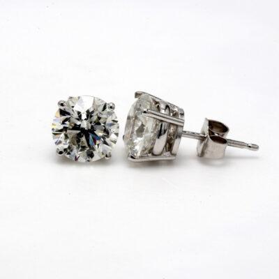 Stud Earrings in 14K WG w/ certified G-H/SI3 Round diamonds D3.58ct.t.w.