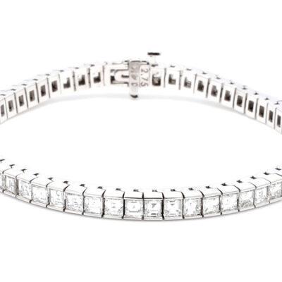 """7"""" Tennis Bracelet in 14K WG w/ Asscher cut diamonds D8.29ct.t.w."""