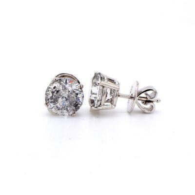 Stud Earrings in 14K WG w/ Round diamonds D4.79ct.t.w.