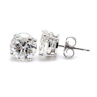 Stud Earrings in 14K WG w/ certified F-G/SI3-I1 Round diamonds D4.03ct.t.w.