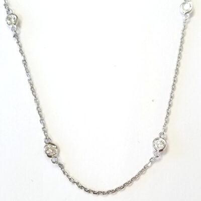 """18"""" Diamonds By The Yard Necklace in 14K WG w/ Round diamonds D0.82ct.t.w."""