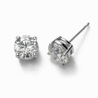 Stud Earrings in 14K WG w/ certified E-F/SI2-SI3 Round diamonds D1.48ct.t.w.