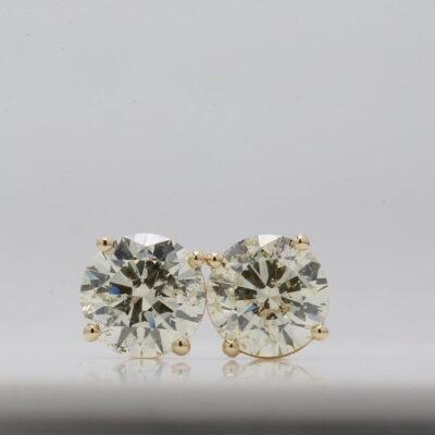 Stud Earrings in 14K YG w/ certified J-K/SI2 Round diamonds D3.42ct.t.w.