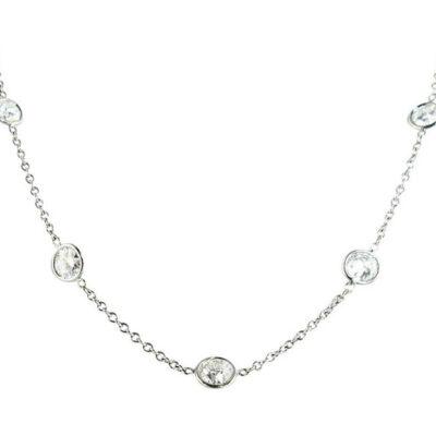 """18"""" Diamonds By The Yard Necklace w/ Round diamonds D2.38ct.t.w."""