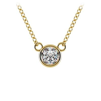 Solitaire Necklace in 14K YG w/ Round diamond D0.22ct.t.w.