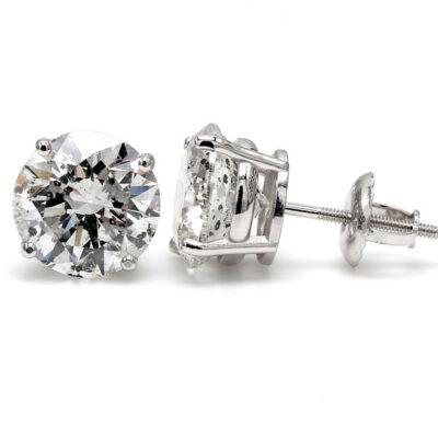 Stud Earrings in 14K WG w/ D/SI3 certified Round diamonds D4.10ct.t.w.