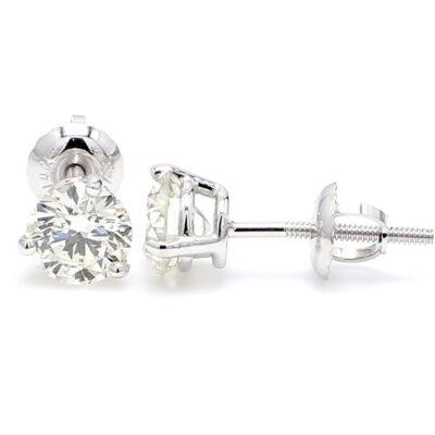 Stud Earrings in 14K WG w/ Round diamonds D1.42ct.t.w.