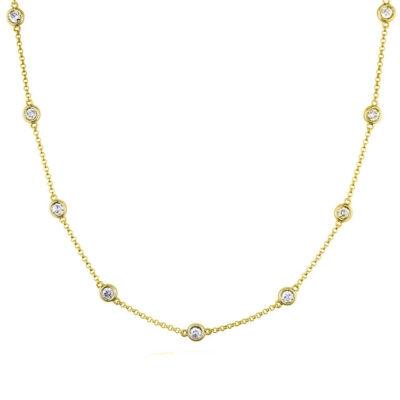 """16"""" Diamonds By The Yard Necklace in 14K YG w/ Round diamonds D1.55ct.t.w."""