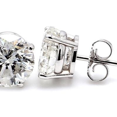 Stud Earrings in 14K WG w/ G-H/SI2-SI3 certified Round diamonds D1.18ct.t.w.