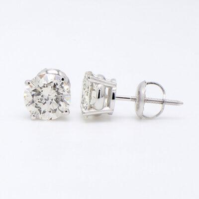 Stud Earrings in 14K WG w/ H/SI2 certified Round diamonds D2.07ct.t.w.