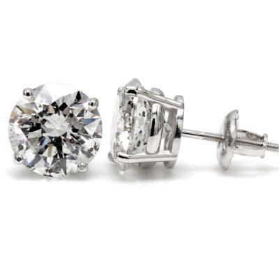 Stud Earrings in 14K WG w/ USA certified D-E/SI3-I1 Round diamonds. D1.03ct.t.w.