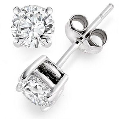 Stud Earrings in 14K WG w/ USA certified E/SI3 Round diamonds. D1.35ct.t.w.