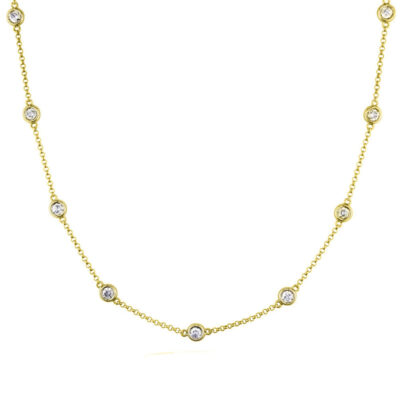 """24"""" Diamonds By The Yard Necklace in 14K YG w/ Round diamonds D1.12ct.t.w."""