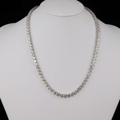 """16.5"""" Tennis Necklace in 18K WG w/ Round diamonds D8.60ct.t.w."""