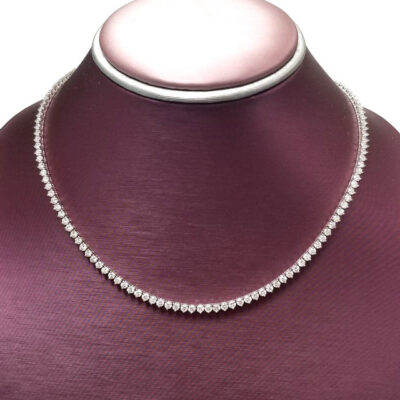"""16.5"""" Tennis Necklace in 18K WG w/ Round diamonds D11.08ct.t.w."""