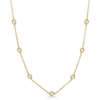 """18"""" Diamonds By The Yard Necklace in 18K YG w/ Round diamonds D1.31ct.t.w."""