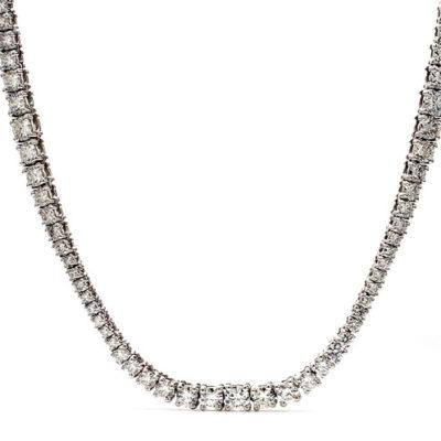 """32"""" Tennis Necklace in 14K WG w/ Round diamonds D16.77ct.t.w."""