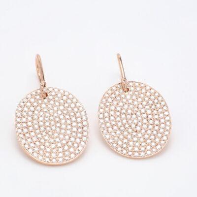 Dangling Earrings in 18K RG w/ Round diamonds D3.45ct.t.w.