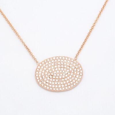 Necklace in 18K RG w/ Round diamonds D1.42ct.t.w.
