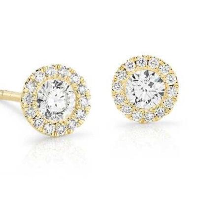 Halo Stud Earrings in 14K YG w/ Round diamonds D1.52ct.t.w.
