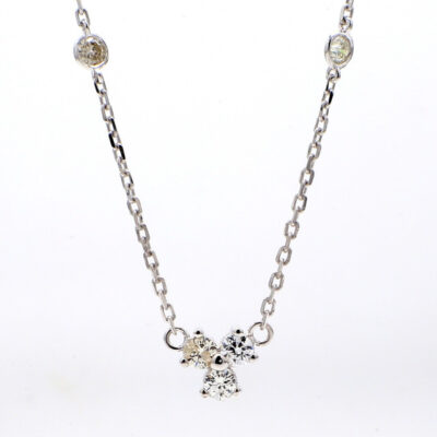 """16"""" Diamonds By The Yard Necklace in 14K WG w/ Round diamonds D0.64ct.t.w."""